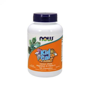 NOW Kid Cal - 100chewables - Tart Orange (Calcium for Kids)